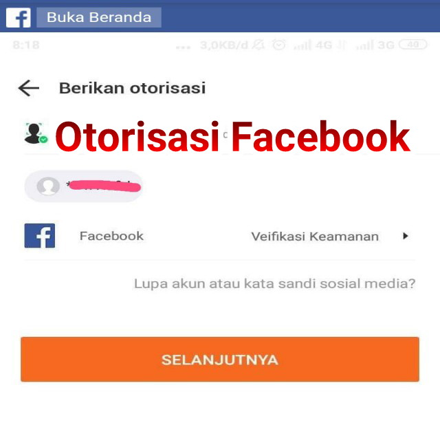 Otorisasi Facebook di Akulaku