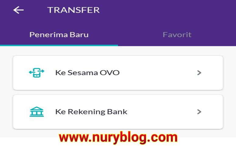 Transfer Antar Bank Melalui OVO