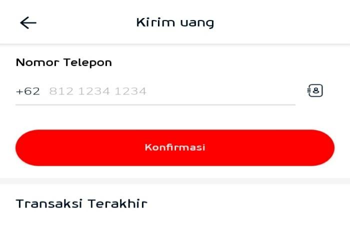 Transfer Ke Sesama Nomor Telepon LinkAja